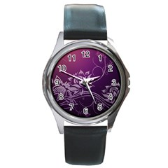 Purple Lotus Round Metal Watch