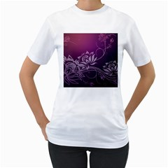 Purple Lotus Women s T-Shirt (White) (Two Sided)