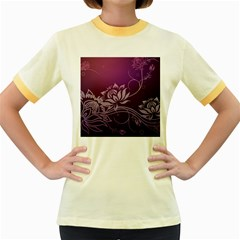 Purple Lotus Women s Fitted Ringer T-Shirts