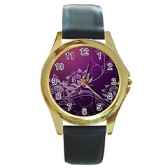 Purple Lotus Round Gold Metal Watch