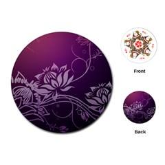 Purple Lotus Playing Cards (Round)