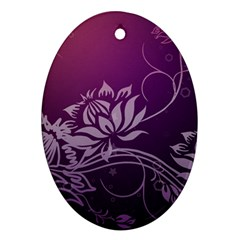 Purple Lotus Oval Ornament (Two Sides)