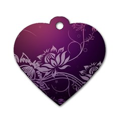 Purple Lotus Dog Tag Heart (One Side)
