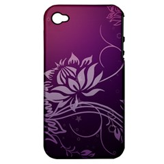 Purple Lotus Apple iPhone 4/4S Hardshell Case (PC+Silicone)