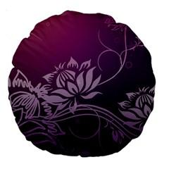 Purple Lotus Large 18  Premium Round Cushions