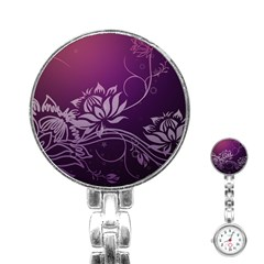 Purple Lotus Stainless Steel Nurses Watch