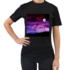Purple Sky Women s T-Shirt (Black) (Two Sided)