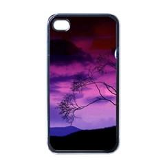 Purple Sky Apple iPhone 4 Case (Black)