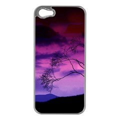 Purple Sky Apple iPhone 5 Case (Silver)