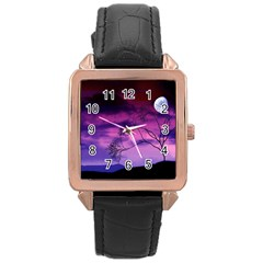 Purple Sky Rose Gold Leather Watch