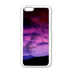 Purple Sky Apple iPhone 6/6S White Enamel Case