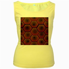 Psychedelic Pattern Women s Yellow Tank Top