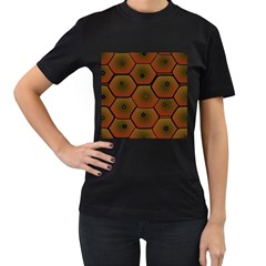 Psychedelic Pattern Women s T-Shirt (Black) (Two Sided)