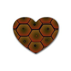 Psychedelic Pattern Rubber Coaster (Heart)