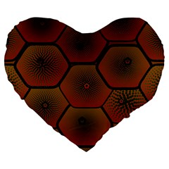 Psychedelic Pattern Large 19  Premium Heart Shape Cushions