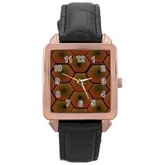 Psychedelic Pattern Rose Gold Leather Watch