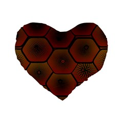 Psychedelic Pattern Standard 16  Premium Flano Heart Shape Cushions