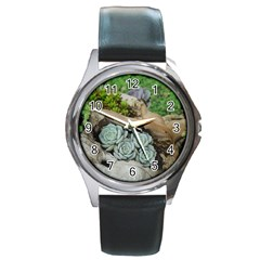 Plant Succulent Plants Flower Wood Round Metal Watch