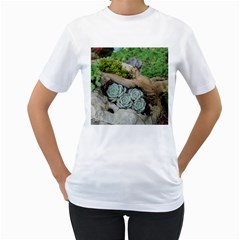 Plant Succulent Plants Flower Wood Women s T-Shirt (White) (Two Sided)