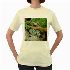 Plant Succulent Plants Flower Wood Women s Yellow T-Shirt