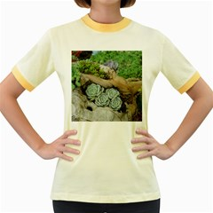 Plant Succulent Plants Flower Wood Women s Fitted Ringer T-Shirts