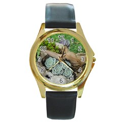 Plant Succulent Plants Flower Wood Round Gold Metal Watch