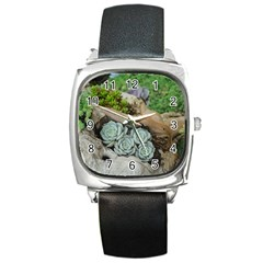 Plant Succulent Plants Flower Wood Square Metal Watch