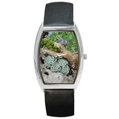Plant Succulent Plants Flower Wood Barrel Style Metal Watch