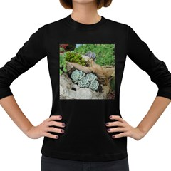 Plant Succulent Plants Flower Wood Women s Long Sleeve Dark T-Shirts