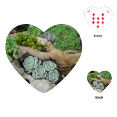 Plant Succulent Plants Flower Wood Playing Cards (Heart)