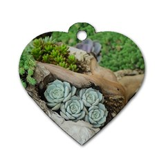 Plant Succulent Plants Flower Wood Dog Tag Heart (One Side)