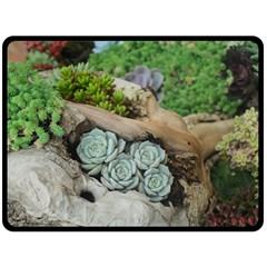 Plant Succulent Plants Flower Wood Fleece Blanket (Large)