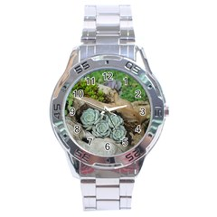 Plant Succulent Plants Flower Wood Stainless Steel Analogue Watch