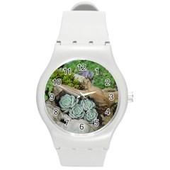 Plant Succulent Plants Flower Wood Round Plastic Sport Watch (M)