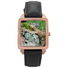 Plant Succulent Plants Flower Wood Rose Gold Leather Watch