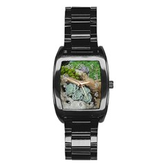 Plant Succulent Plants Flower Wood Stainless Steel Barrel Watch