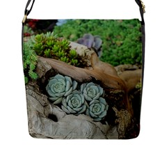 Plant Succulent Plants Flower Wood Flap Messenger Bag (L)