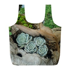 Plant Succulent Plants Flower Wood Full Print Recycle Bags (L)