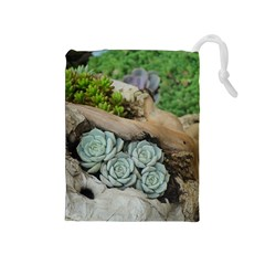 Plant Succulent Plants Flower Wood Drawstring Pouches (Medium)