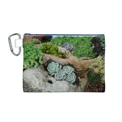 Plant Succulent Plants Flower Wood Canvas Cosmetic Bag (M)
