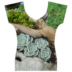 Plant Succulent Plants Flower Wood Women s V-Neck Cap Sleeve Top
