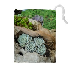 Plant Succulent Plants Flower Wood Drawstring Pouches (Extra Large)