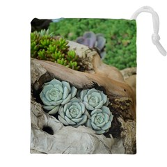Plant Succulent Plants Flower Wood Drawstring Pouches (XXL)