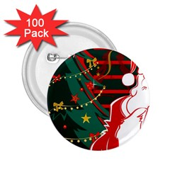 Santa Clause Xmas 2.25  Buttons (100 pack)