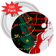 Santa Clause Xmas 3  Buttons (100 pack)