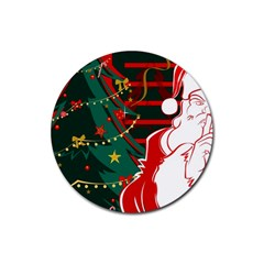 Santa Clause Xmas Rubber Coaster (Round)