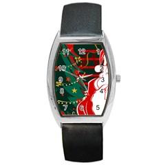 Santa Clause Xmas Barrel Style Metal Watch