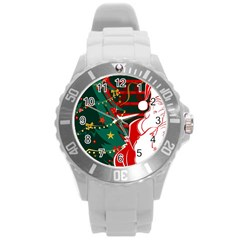 Santa Clause Xmas Round Plastic Sport Watch (L)