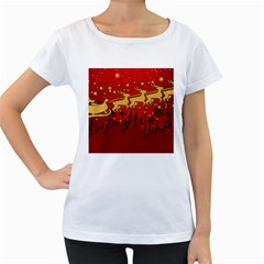 Santa Christmas Claus Winter Women s Loose-Fit T-Shirt (White)