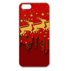 Santa Christmas Claus Winter Apple Seamless iPhone 5 Case (Clear)